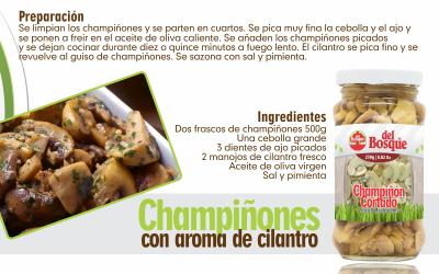 Champiñones con aroma de cilantro